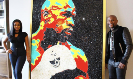 """Tiffanie Anderson's """"PURE GLASS"""" Of Floyd Mayweather Is Revealed By The Champ Himself, An 8ft portrait of Himself, And Conor McGregor Made From Broken Glass At £19m Beverly Hills Mansion"""