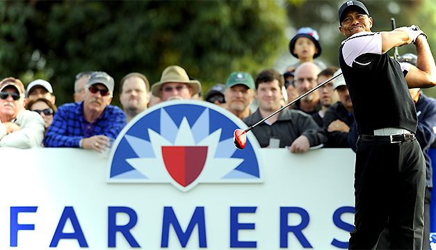TIGER WOODS WINS WITH  4 STRAIGHT SCORES OF UNDER PAR FOR THE FIRST WEEKEND TOURNEY OF HIS GOLF RETURN IN 2 YEARS, AND THE FARMERS OPEN AT TORREY PINES WINS WITH A RECORD GATE, AND RECORD CROWDS, FROM THE PRO-AM ON WEDNESDAY TO THE FINAL TIGER STOKE ON SUNDAY