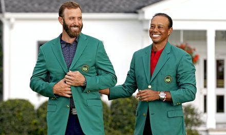 'Awesome and unbelievable': Dustin Johnson receives green jacket from Tiger Woods