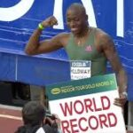 Grant Holloway breaks world indoor 60m hurdles record, that had endured since 1994 on Wednesday, finishing in 7.29 seconds to shave 0.01 seconds off the previous mark set by Briton Colin Jackson.