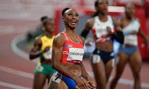 Jasmine Camacho-Quinn of Puerto Rico powered ahead of American Keni Harrison in the women's 100-meter hurdles Monday, springing an upset and keeping the United States out of the win column at the Olympic track meet for yet another session