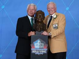 """THE GREAT 2X SUPERBOWL WINNING HEAD COACH OF THE DALLAS COWBOYS, """"Jimmy Johnson"""",  punctuates HOF ring ceremony with signature 'How 'bout them Cowboys?"""